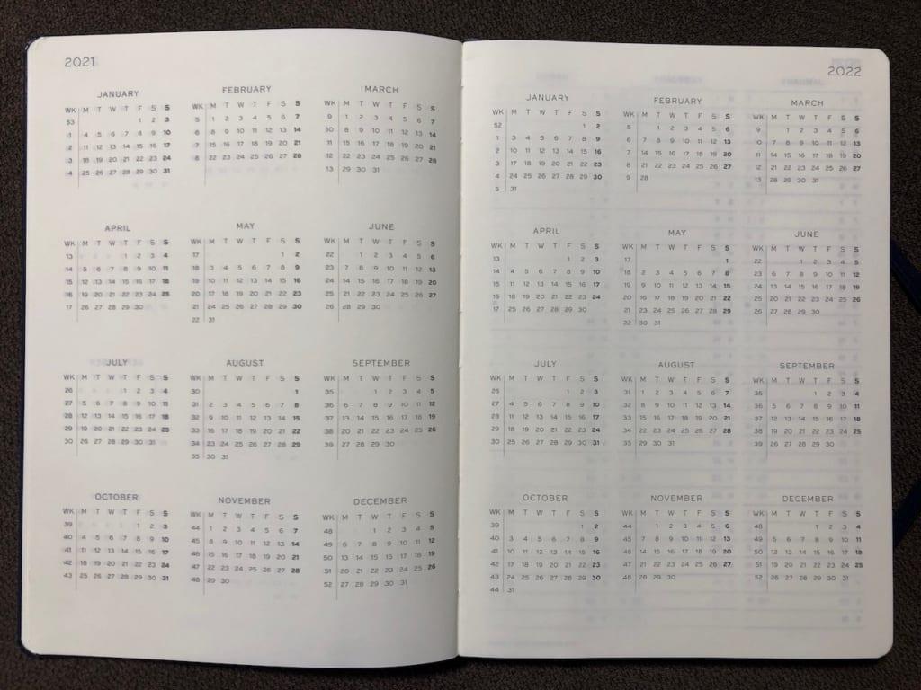 ロイヒトトゥルム1917 ウィークリープランナーのネイビーカレンダー3年分03